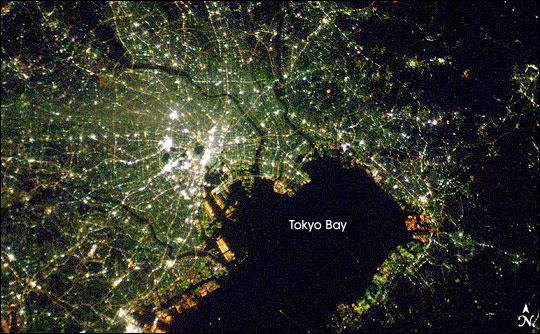 Tokyo from space at night