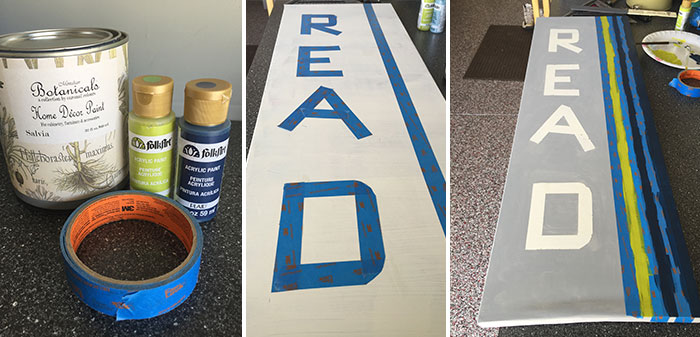 DIY canvas with letters R-E-A-D